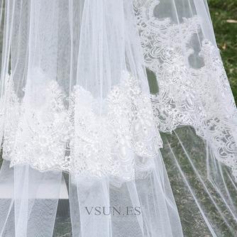 Nuevo velo de tres capas de encaje al por mayor accesorios de boda de velo de cola nupcial - Página 3