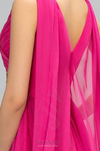 Vestido de noche Escote en V Blusa plisada Natural largo Formal Gasa - Página 4