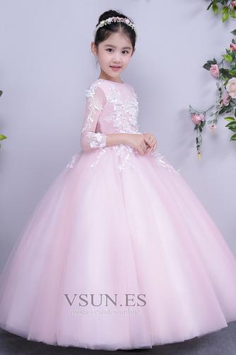 Vestido niña ceremonia Formal Hasta el Tobillo Joya tul Apliques Corte-A - Página 1
