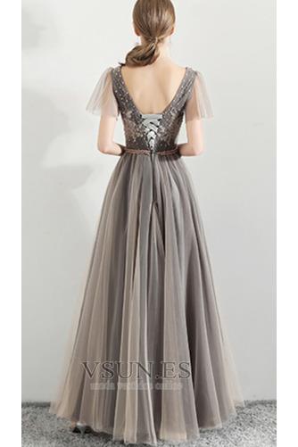Vestido de fiesta Elegante Corte-A Natural Cordón tul Reloj de Arena - Página 5