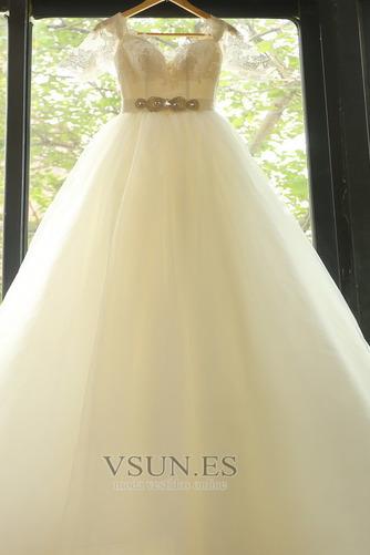 Vestido de novia Elegante Escote con Hombros caídos tul Apliques Hasta el suelo - Página 4
