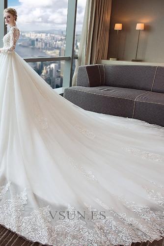 Vestido de novia Manzana largo Natural Cola Real Cordón Camiseta - Página 4