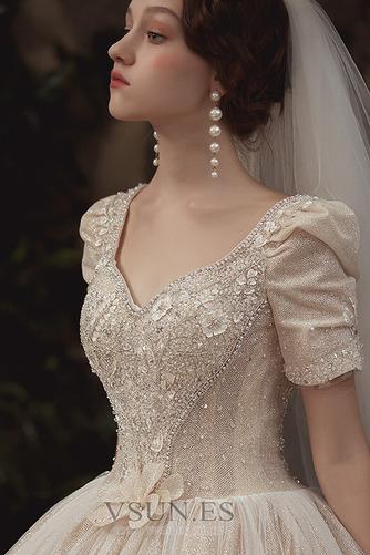 Vestido de novia Corpiño Acentuado con Perla Cordón Abalorio Camiseta - Página 4