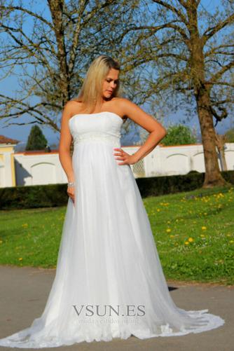 Vestido de novia Sin tirantes Embarazadas Imperio Imperio Cintura Sin mangas - Página 6