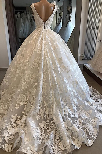 Vestido de novia Sin mangas Baja escote en V Corte-A Espectaculares - Página 2