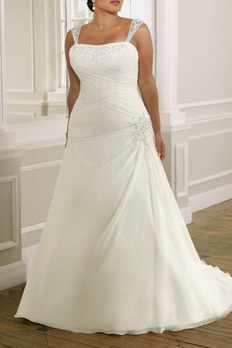 Vestido de novia Gasa Plisado Corte-A Cordón Sala Cintura Baja - Página 1