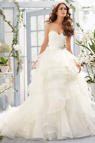 Vestido de novia Corte princesa largo Sin mangas Escote Corazón Otoño - Página 1