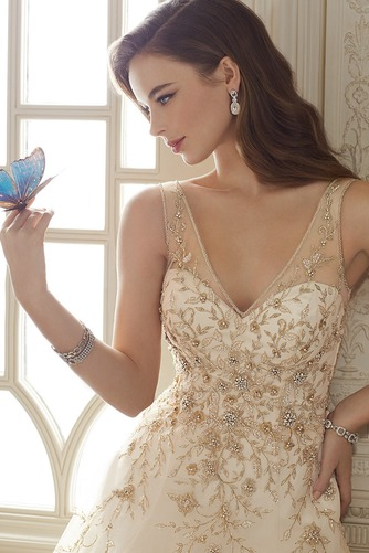 Vestido de novia Cremallera Otoño Sin mangas Natural Escote en V Apliques - Página 3