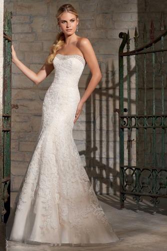 Vestido de novia Corte Sirena Natural Sin mangas Botón largo Escote Corazón - Página 1
