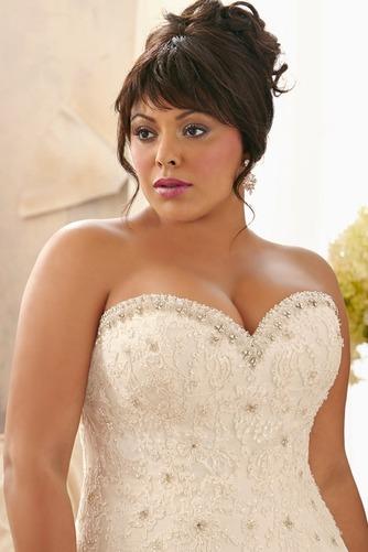 Vestido de novia Abalorio Escote Corazón Iglesia largo Cordón Natural - Página 3