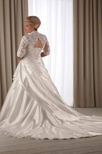 Vestido de novia Corte-A Cola Capilla Satén Abalorio Queen Anne Natural - Página 3