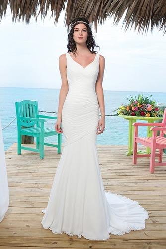 Vestido de novia Corte Sirena Volantes Adorno Gasa Sin mangas Natural - Página 1