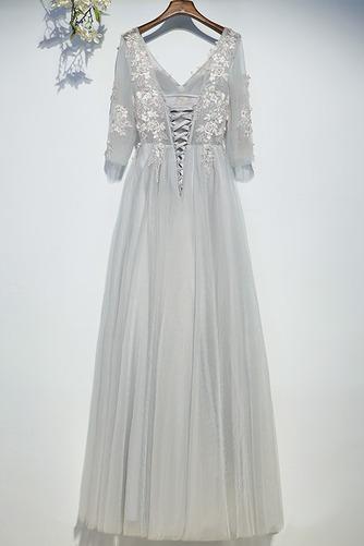 Vestido de dama de honor Capa de encaje Drapeado Hasta el suelo Elegante Natural - Página 2