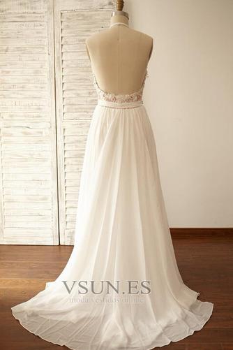 Vestido de novia Encaje Cinturón de cuentas Natural Fuera de casa Corte-A - Página 3