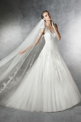 Vestido de novia tul Corte-A Con velo Joya Cola Barriba Cremallera - Página 1