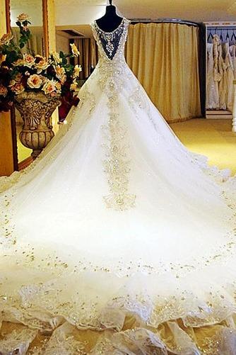 Vestido de novia Iglesia Pura espalda Corte princesa Natural tul Otoño - Página 2