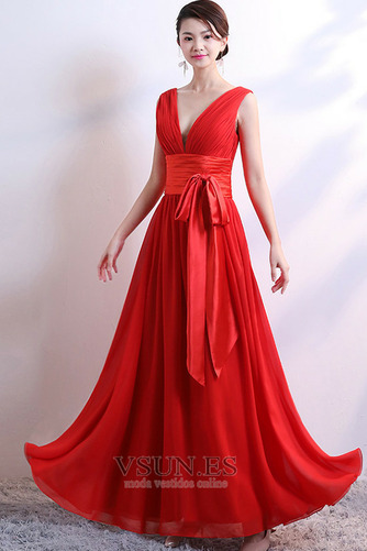 Vestido de dama de honor Falta Lazos Corte-A Natural Sin mangas Baja escote en V - Página 1