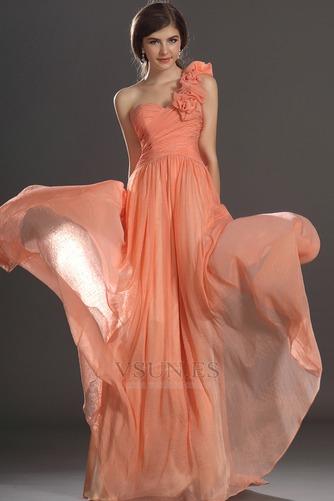 Vestido de noche Elegante Cremallera Gasa Hasta el suelo Flores Blusa plisada - Página 2