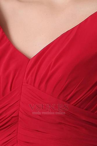 Vestido de dama de honor Escote en V Gasa adulto Natural Oscilación Hasta la Rodilla - Página 7