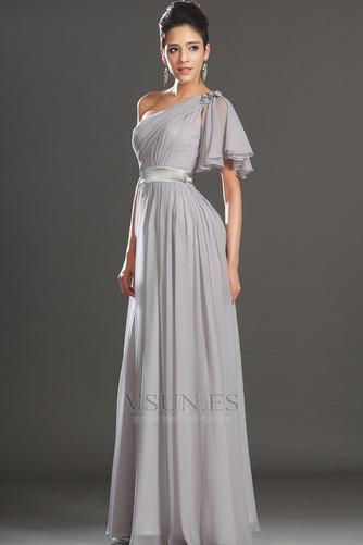 Vestido de noche Elegante Verano Drapeado Hasta el suelo Corte-A Gasa - Página 4