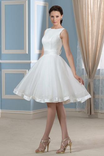Vestido de novia Falta Hasta la Rodilla Moderno Natural Lazos Corte-A - Página 2