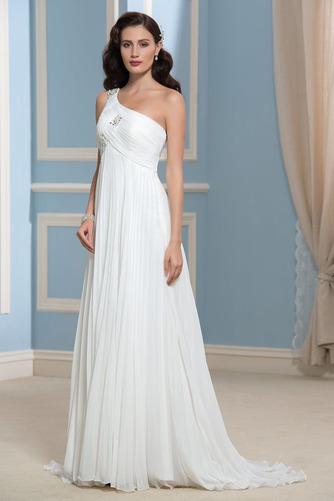 Vestido de novia Rectángulo Imperio Un sólo hombro Blusa plisada Imperio Cintura - Página 1