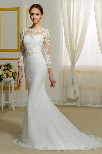 Vestido de novia Invierno Sin mangas Pura espalda Natural Capa de encaje - Página 2