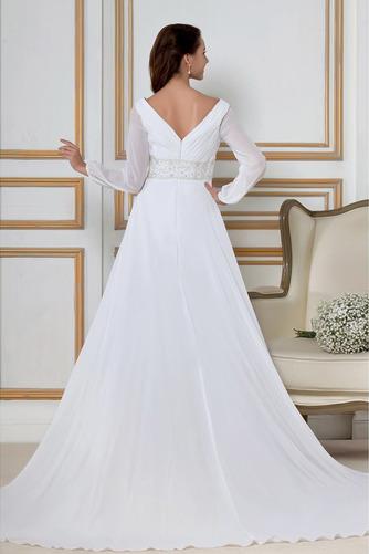 Vestido de novia Natural largo Dobladillos Corte-A Cremallera Escote en V - Página 3