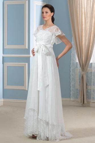 Vestido de novia Asimètrico Escote en V Fuera de casa Fajas Asimétrico Dobladillo - Página 2