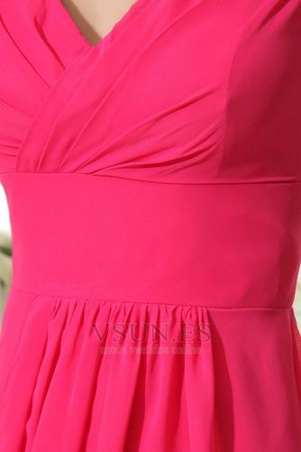 Vestido de dama de honor Volante Escote en V Espalda medio descubierto Hasta el suelo - Página 7