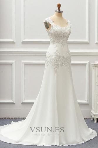 Vestido de novia Gasa Cordón Capa de encaje Natural Escote Cuadrado - Página 4