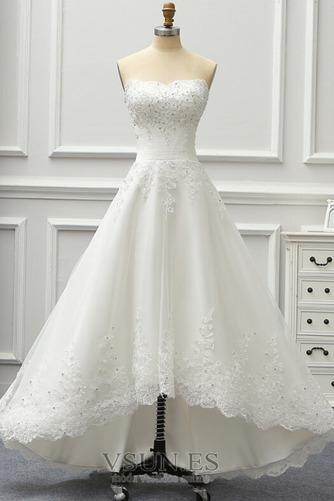Vestido de novia Sin tirantes Sin mangas Corpiño Acentuado con Perla - Página 1