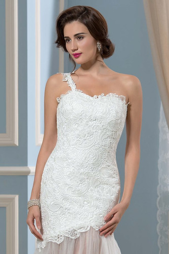 Vestido de novia largo Natural Verano Un sólo hombro Corte Recto Espalda Descubierta - Página 4