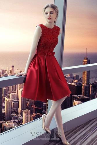 Vestido de cóctel Elegante Hasta la Rodilla Corte-A Bordado Pera Natural - Página 4