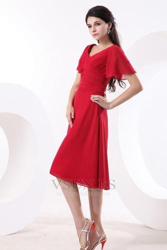 Vestido de dama de honor Escote en V Gasa adulto Natural Oscilación Hasta la Rodilla - Página 4