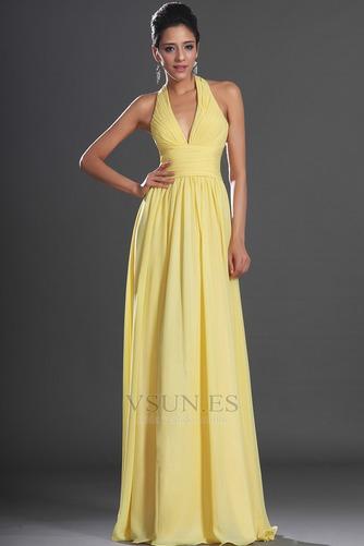 Vestido de noche primavera Espalda medio descubierto sexy Amarillo claro - Página 4