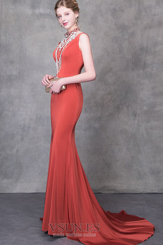 Vestido de noche Natural Elegante Otoño Escote con cuello Alto Satén - Página 6