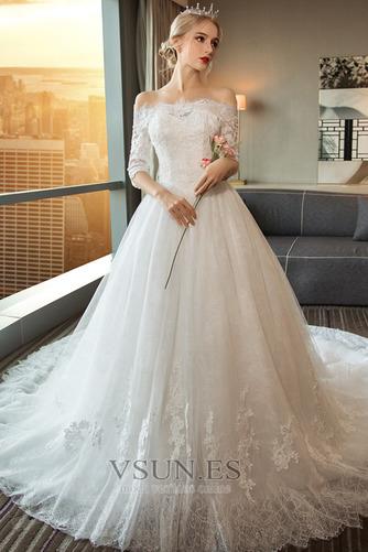 Vestido de novia Natural Espalda Descubierta largo Corte-A Mangas Illusion - Página 1