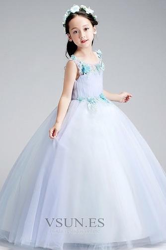 Vestido niña ceremonia Corte-A Cremallera Falta Natural Sin mangas Rosetón Acentuado - Página 3