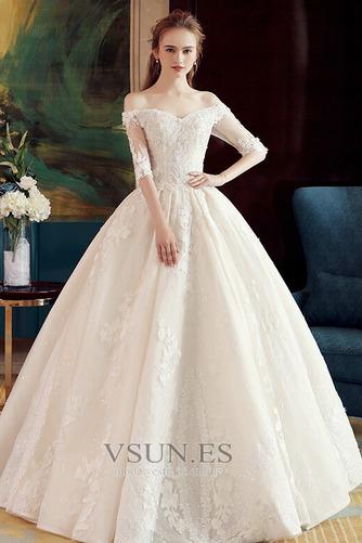 Vestido de novia Elegante Recatada Hasta el suelo Escote con Hombros caídos - Página 1