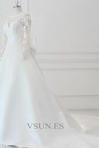 Vestido de novia Elegante Otoño Manga larga Apliques Barco Cordón - Página 2