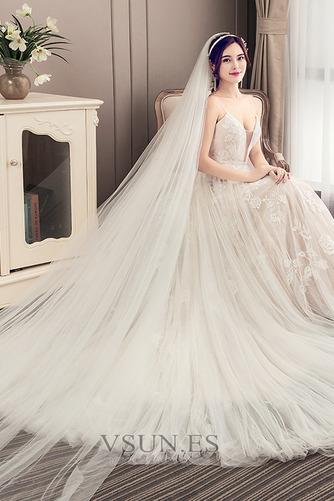 Vestido de novia Escote de Tirantes Espaguetis largo Iglesia Sin mangas - Página 4