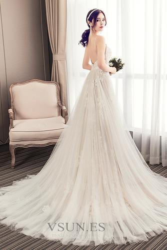 Vestido de novia Escote de Tirantes Espaguetis largo Iglesia Sin mangas - Página 2