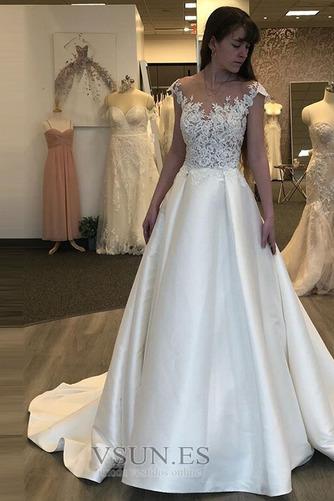 Vestido de novia Espalda Descubierta Sin mangas Corte-A Capa de encaje - Página 1