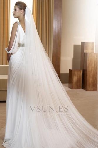 Vestido de novia estilo griego Con velo Abalorio Blanco Moderno Otoño - Página 2