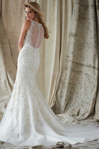 Vestido de novia Organza Pura espalda Sala Joya Abalorio Natural - Página 2