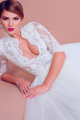 Vestido de novia largo Cristal Otoño Natural Encaje Escote con cuello Alto - Página 3