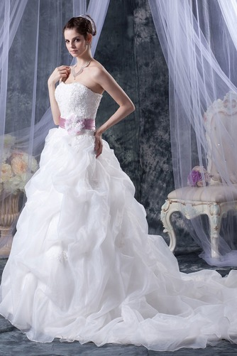 Vestido de novia Sin tirantes Corte-A Iglesia largo Sin mangas Encaje - Página 4