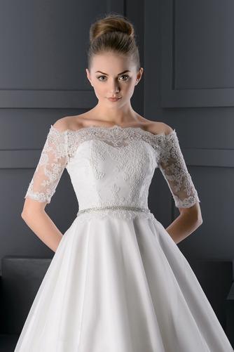 Vestido de novia Escote con Hombros caídos Manga corta Otoño Corte-A - Página 3