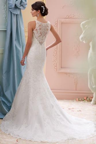 Vestido de novia vendimia Barco Apliques Otoño Pura espalda Natural - Página 2